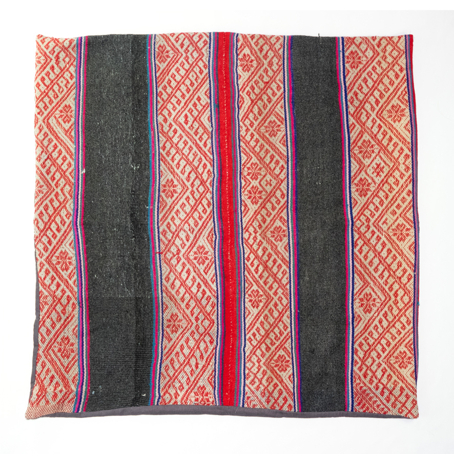 PERUVIAN FLOOR CUSHION (GREY/RED)   STATUS: SOLD OUT