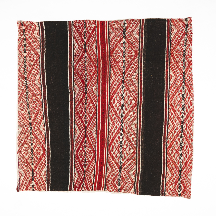 PERUVIAN FLOOR CUSHION (CHOC/RED)   STATUS: SOLD OUT