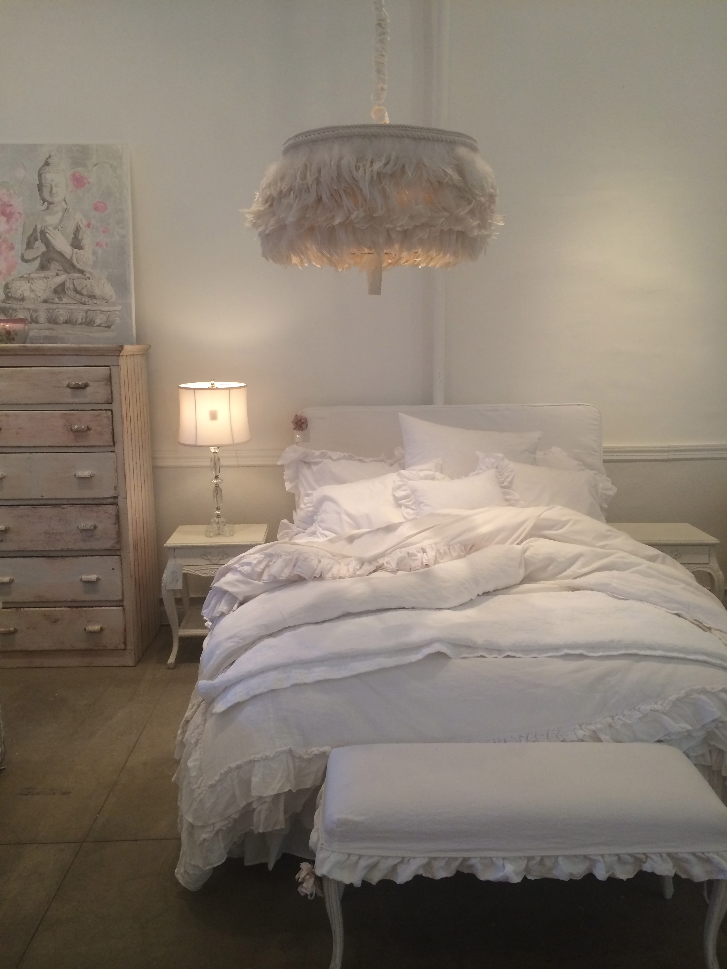 Getting my white vintage fix at Shabby Chic in Soho.That lamp...