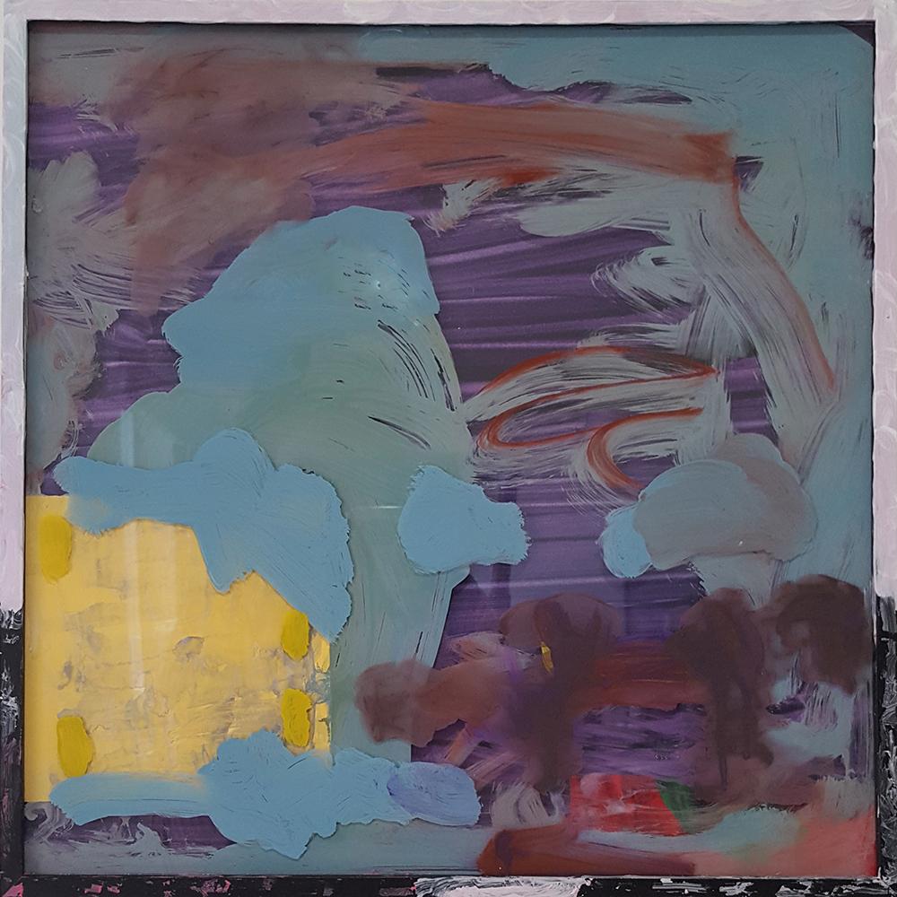 Yolk, 17 x 17 inches,Flashe, Paper, Ink, Plexiglass, Frame, 2015