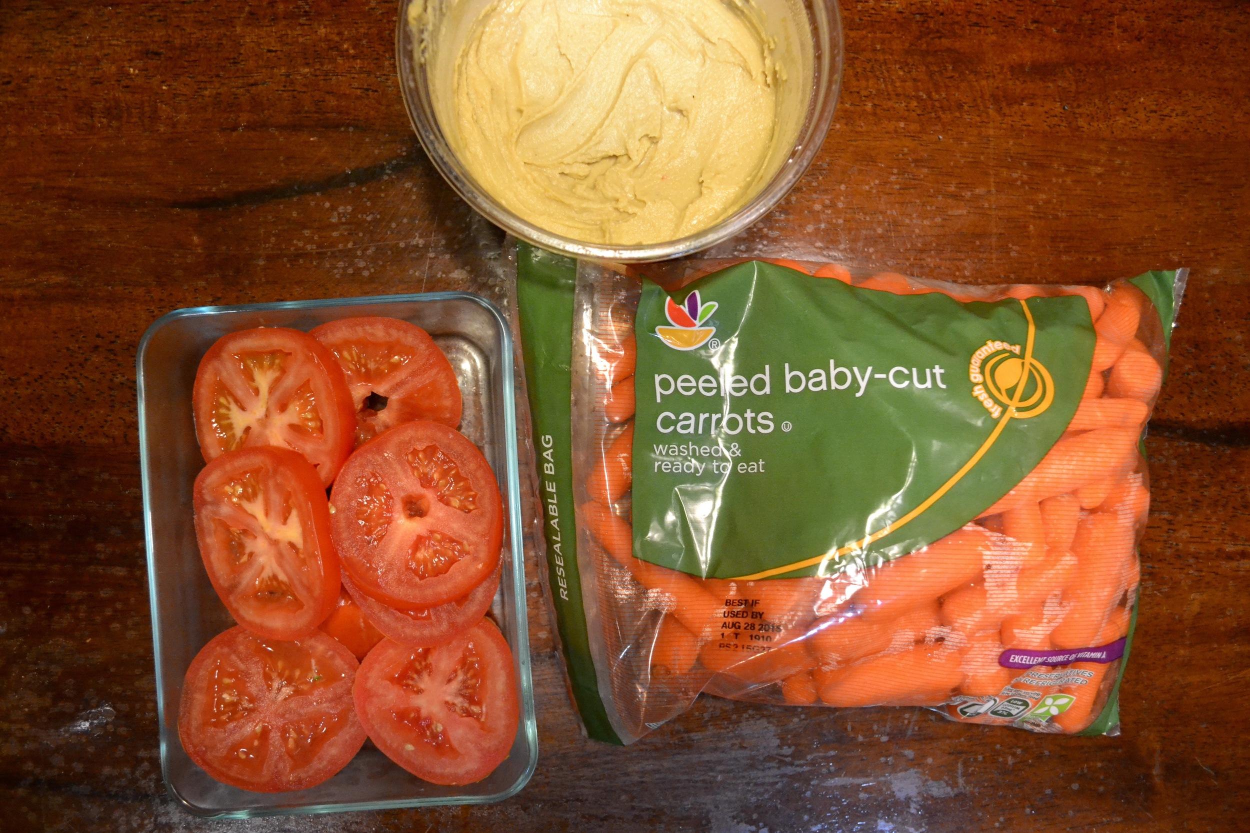 tomatoes, carrots, and hummus