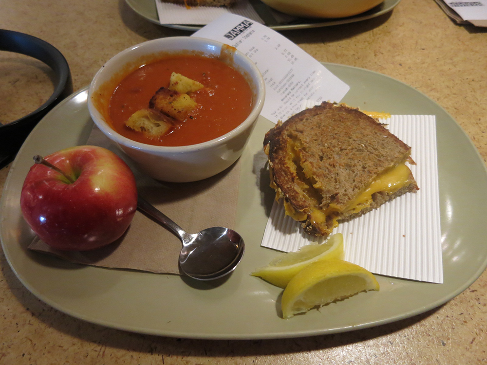 I discovered this amazing combo from Panera Bread this week.  Why didn't anyone tell me they make amazing grilled cheese and tomato soup?!