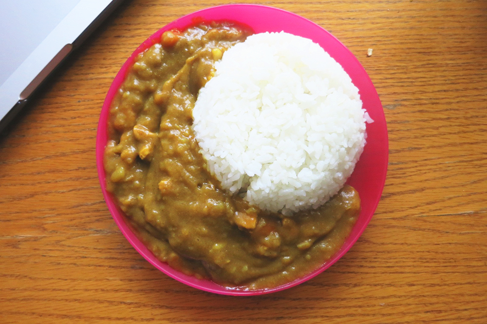 Japanese curry and rice - it has chicken, potatoes, and carrots in it :)