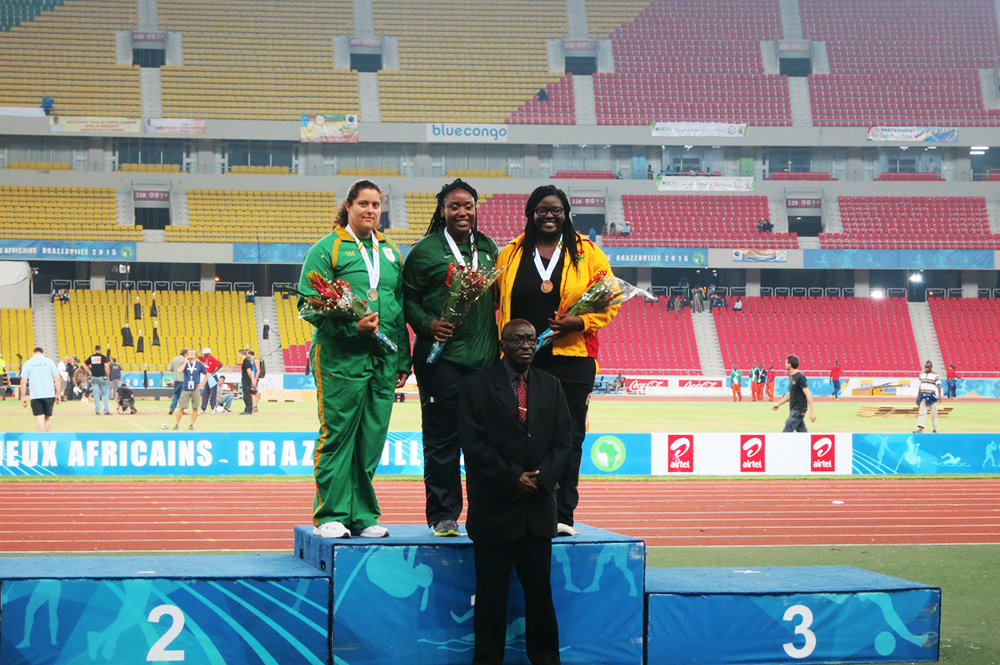 Julia Agawu on medal stand
