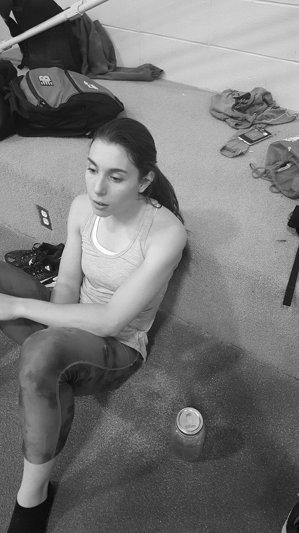 Christy Wood dazed after a hard practice
