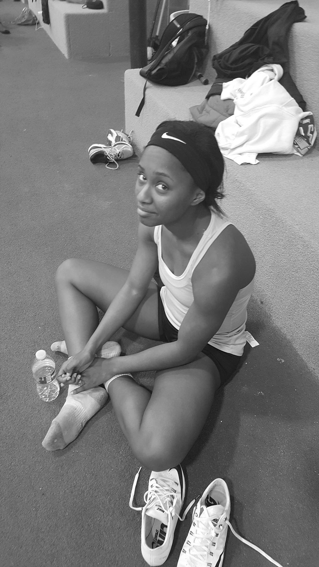 Ebony resting after a hard practice