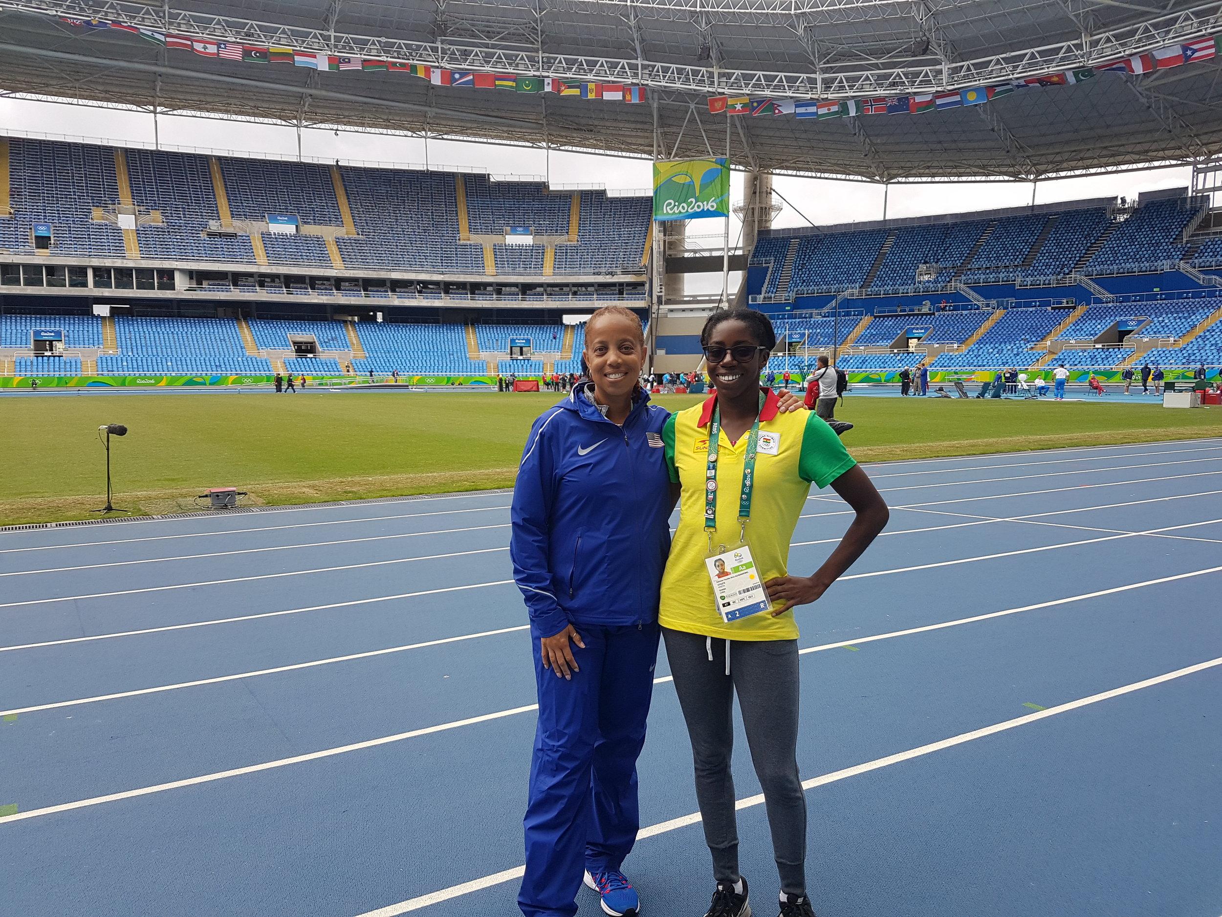 Coach Robyne Johnson and I at the Olympic Stadium