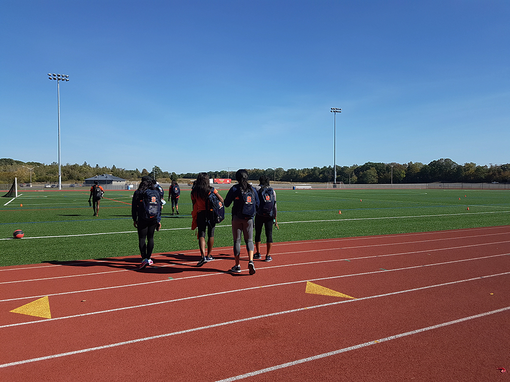 The Syracuse sprint team heading out after practice
