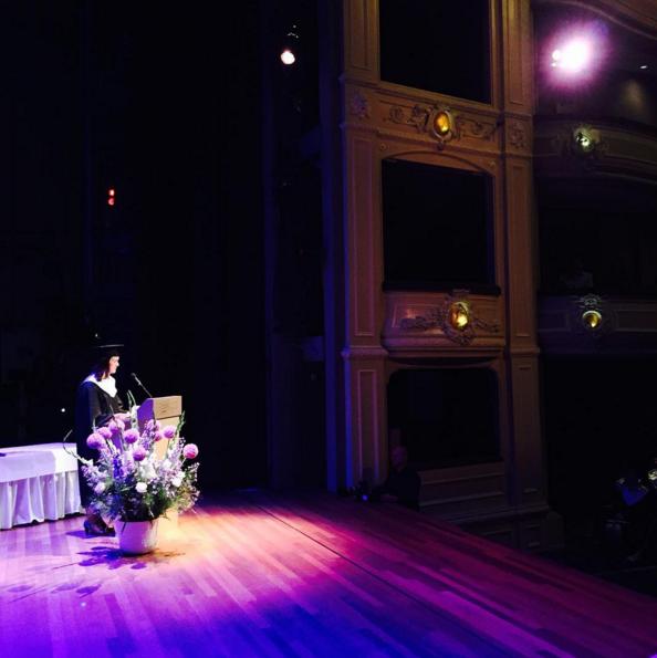 Lena Volmer delivering her valedictorian address in the Koninklijke Schouwburg in The Hague, 3 July 2015.