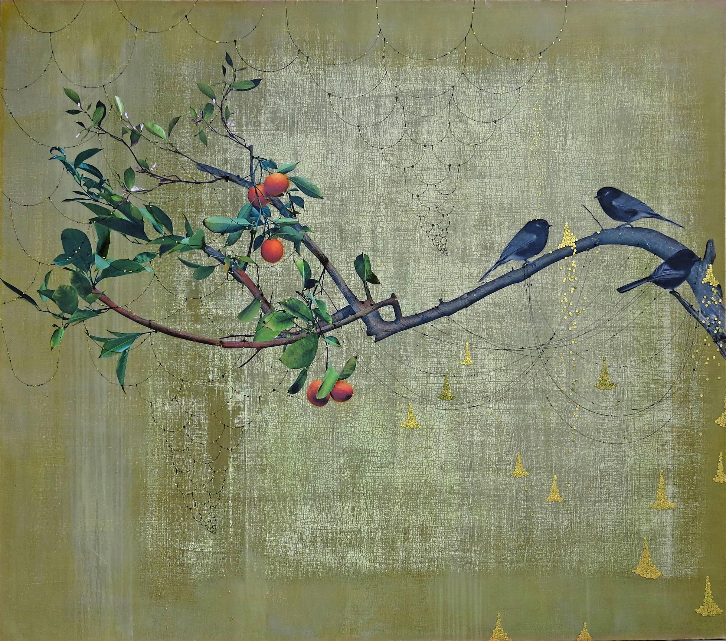 Orange tree & 3 black birds