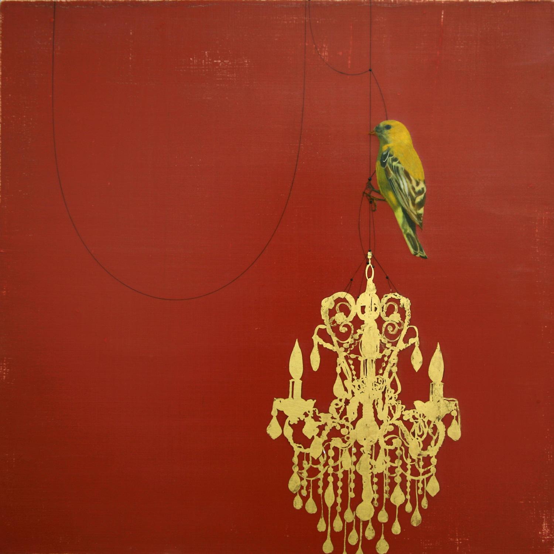Goldfinch on chandelier#103