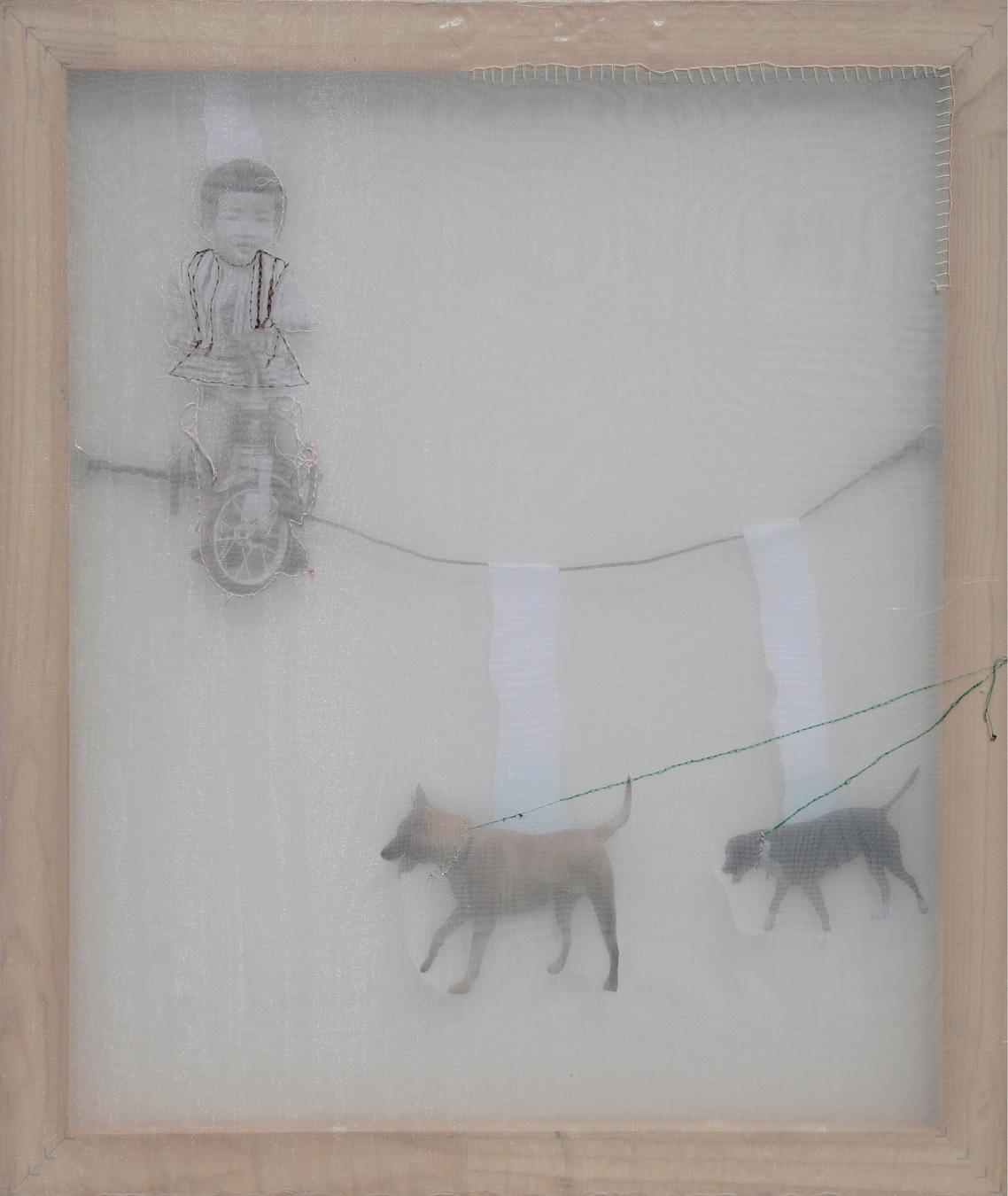 Kaoru Taking a walk with two dogs