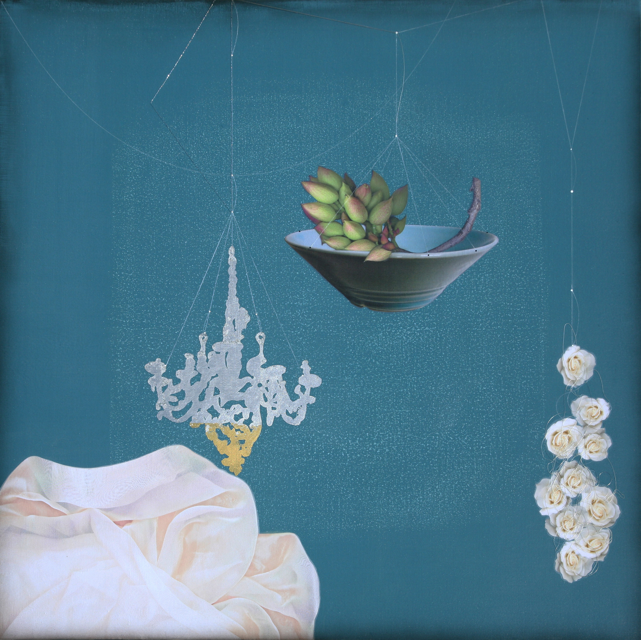 Chandelier, Pistachio and white rose