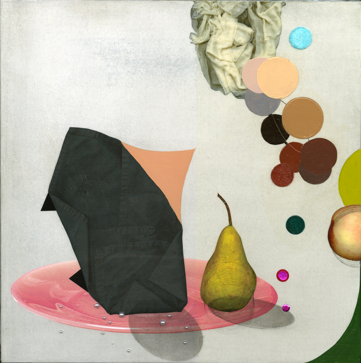 Black Napkin and pear