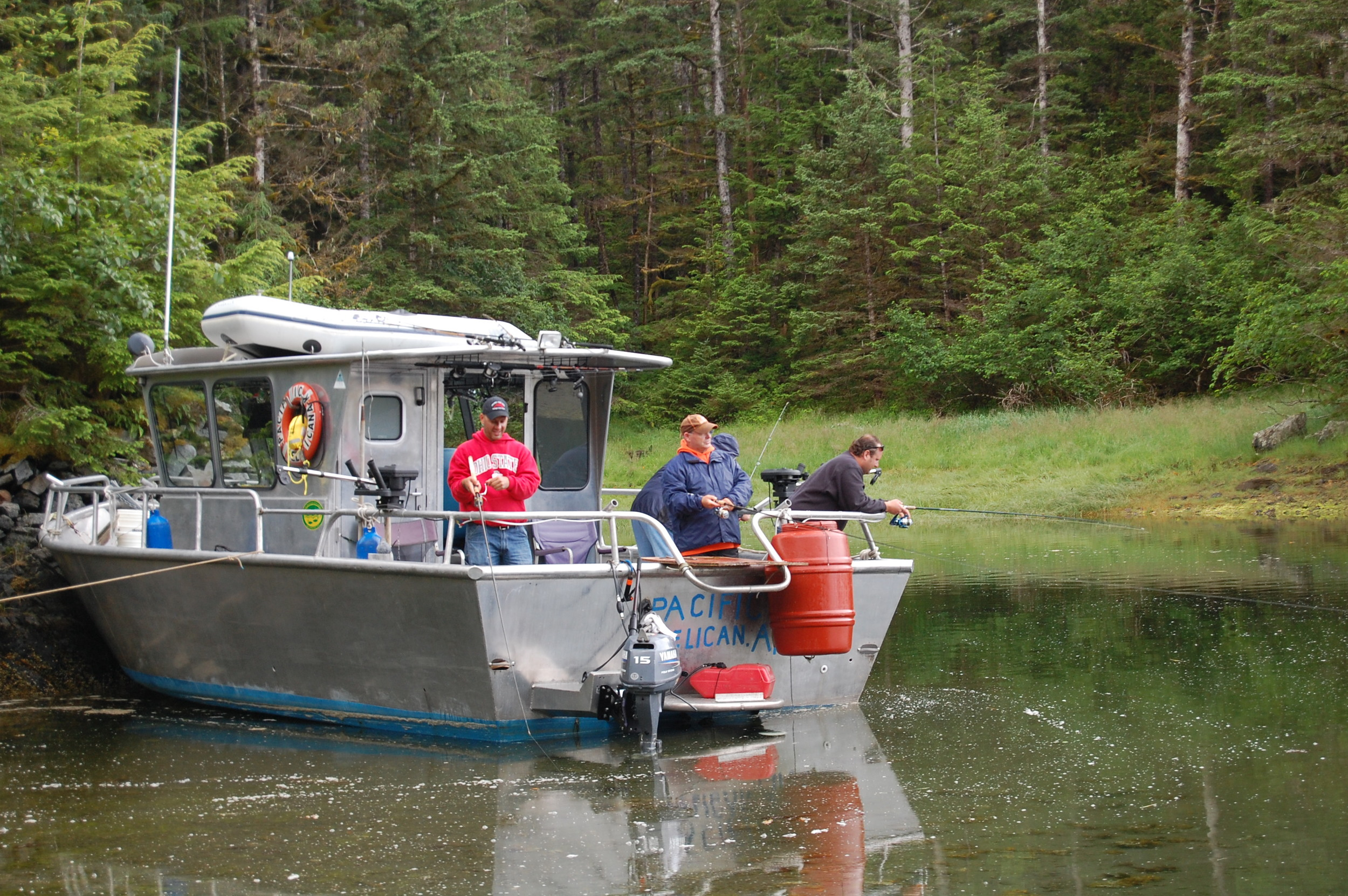 Alaska silver salmon slough fishing