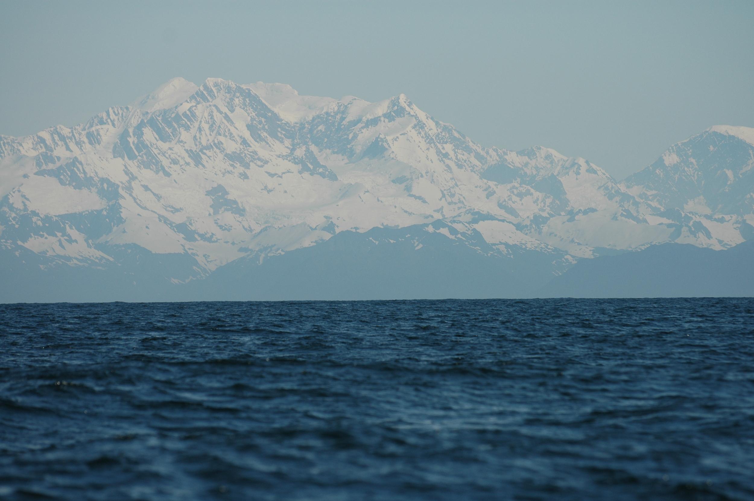 the Fairweather Mountain Range, 15,300', largest non-polar ice field in the world.