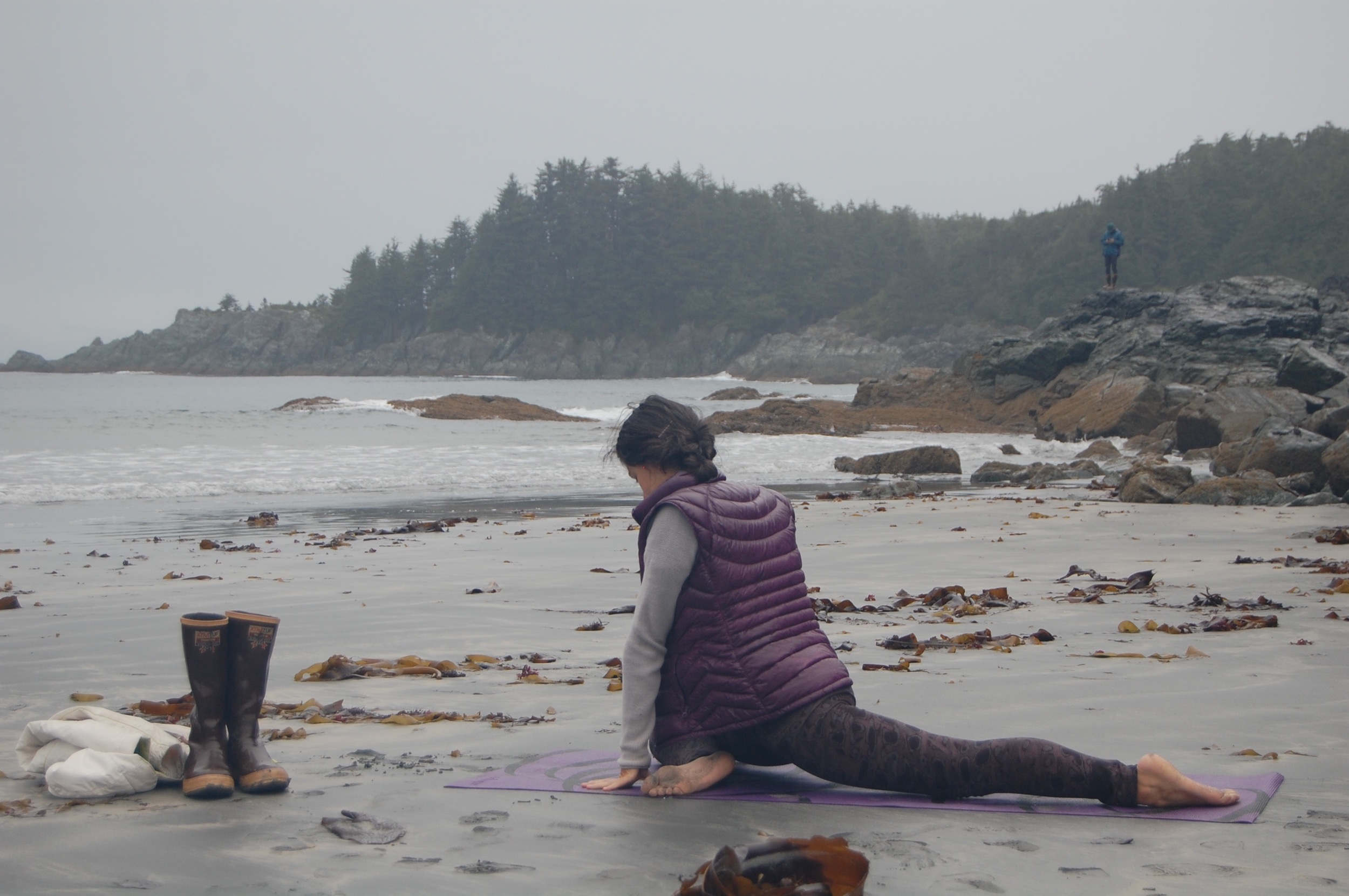 Yoga after an invigorating hike through the Tongass National Rainforest.