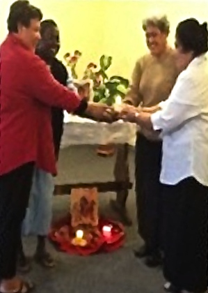 Sisters Jacinta, Jeline andSosefina in a Missioning Prayer Service with Sister Malia Nive, General Councilor in Rome.