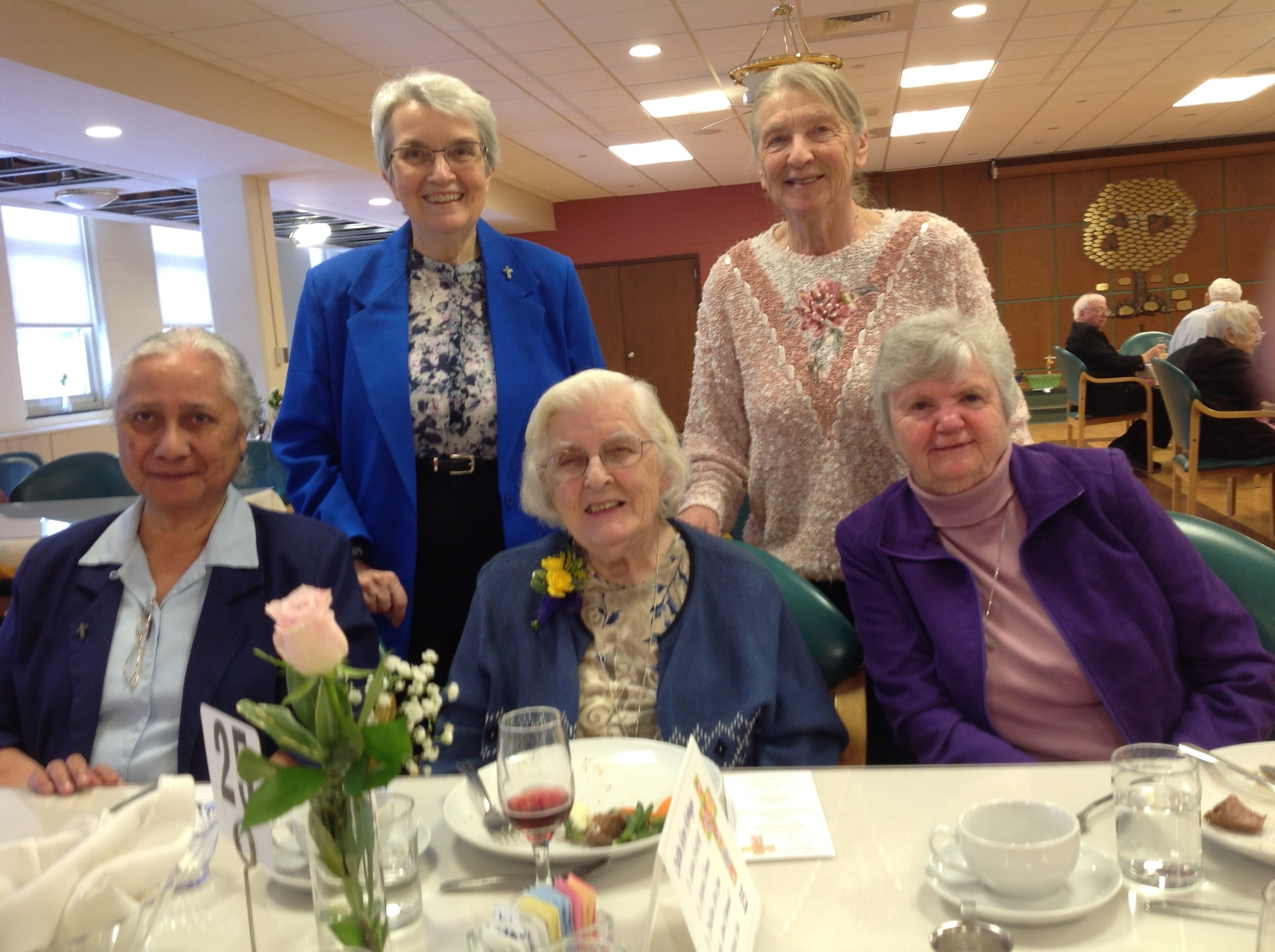 Sister Mary Ancillita (front, center) with her invited guests: (clockwise from left) Sisters M. Aloisia Vea, Virginia Fornasa, Maria DeWulf, and Christina MacLean.