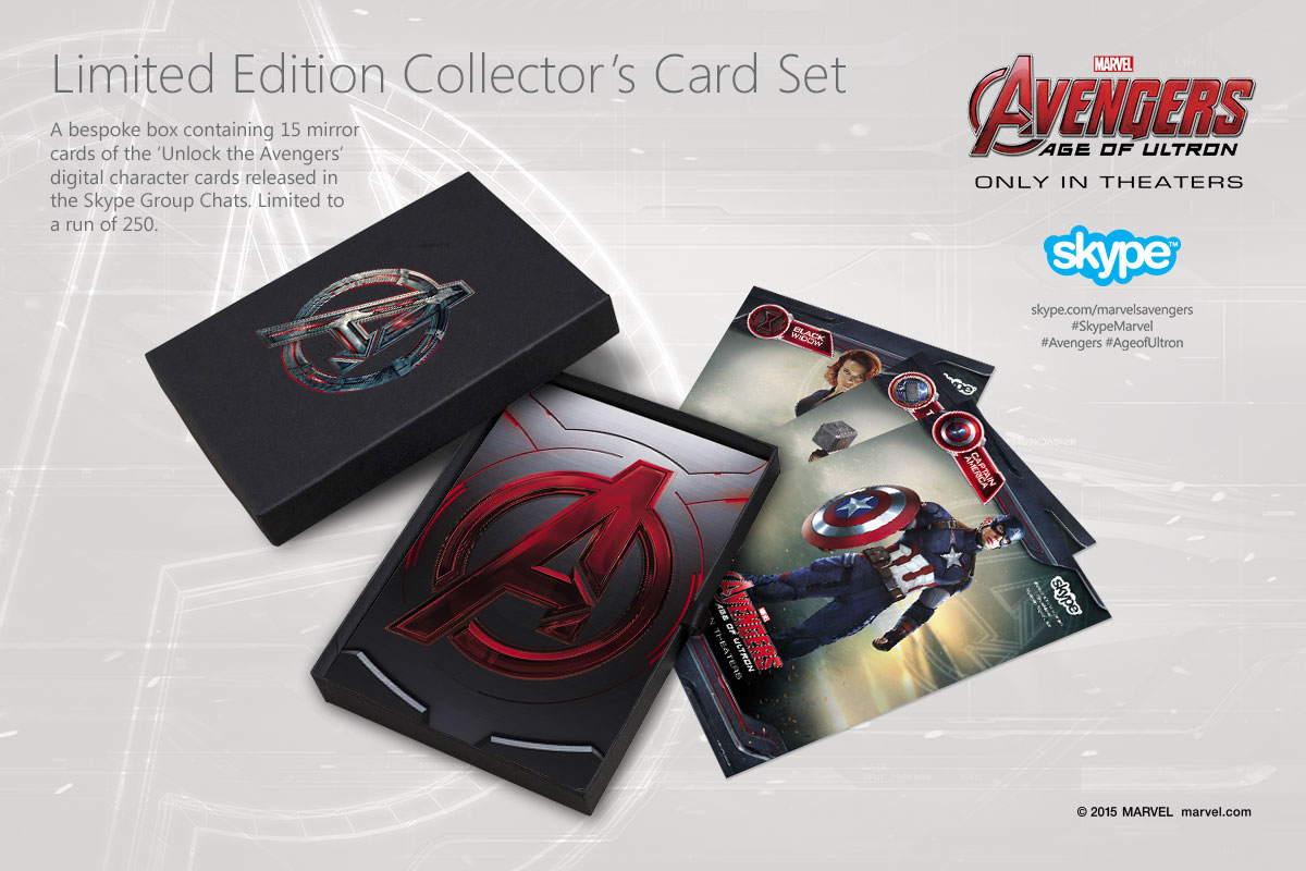 The digital cards were also produced as a limited edition set of metallic mirror cards in a custom built Avengers box. These were sent to the winners of the 'Unlock the Avengers' card challenge.