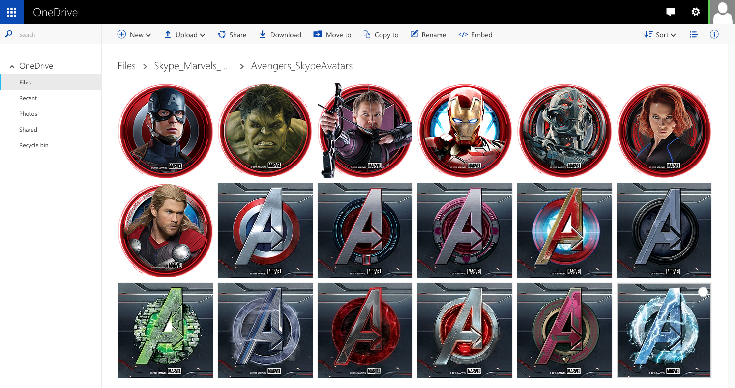 A OneDrive link to exclusive content was available via the campaign website and shared in the group chats. They include Marvel's Avengers: Age of Ultron Skype Avatars.