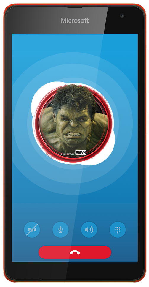 Hulk avatar in use on an audio call.