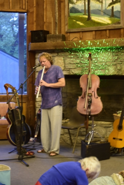 Tom Shinness at the Spring Retreat with his many instruments he improvises on.