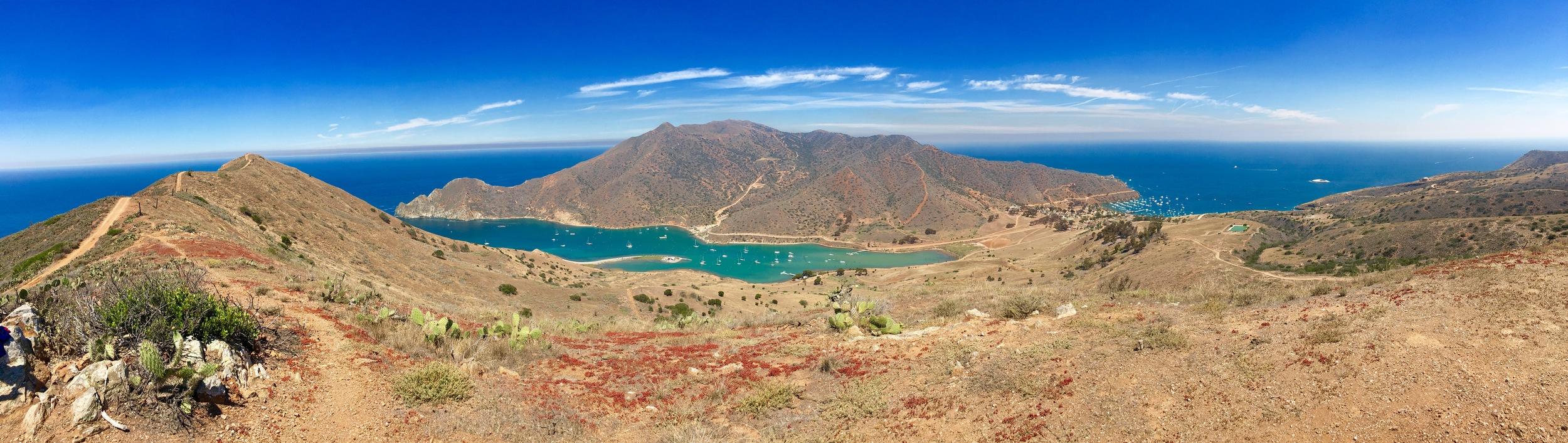 Pano of the 2 Harbors. Cat Harbor on the left and Isthmus Cove on the right.
