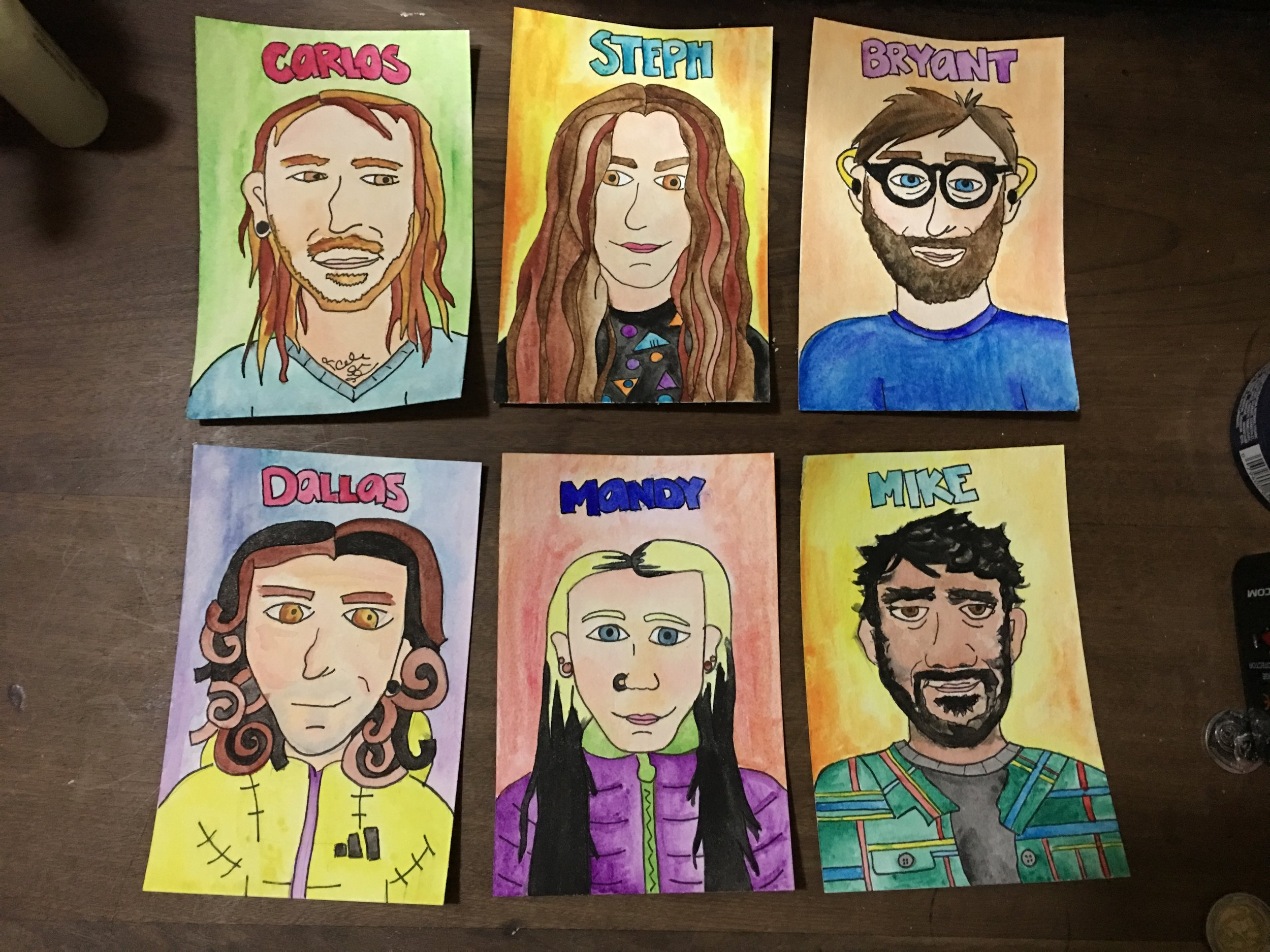 Self portraits I painted of my friends