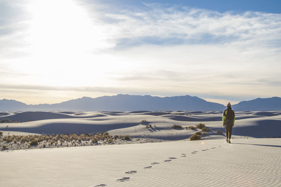 The Ultimate Guide to White Sands National Monument in New Mexico |  These beautiful gypsum sand dunes should be high on your traveling bucket list. From hiking, to backcountry camping, to bicycling, to epic photography shots at sunset, there are a lot of fun things to do at White Sands! In this post I detail all you need to know about visiting this breathtaking National Monument. | shedreamsofalpine.com