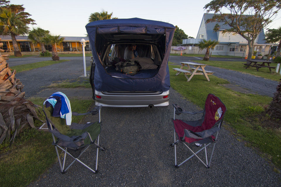 camper-van-set-up-clarks-beach-holiday-park