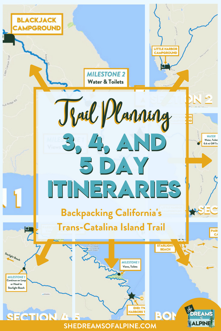 Trans-Catalina Trail Map Itineraries