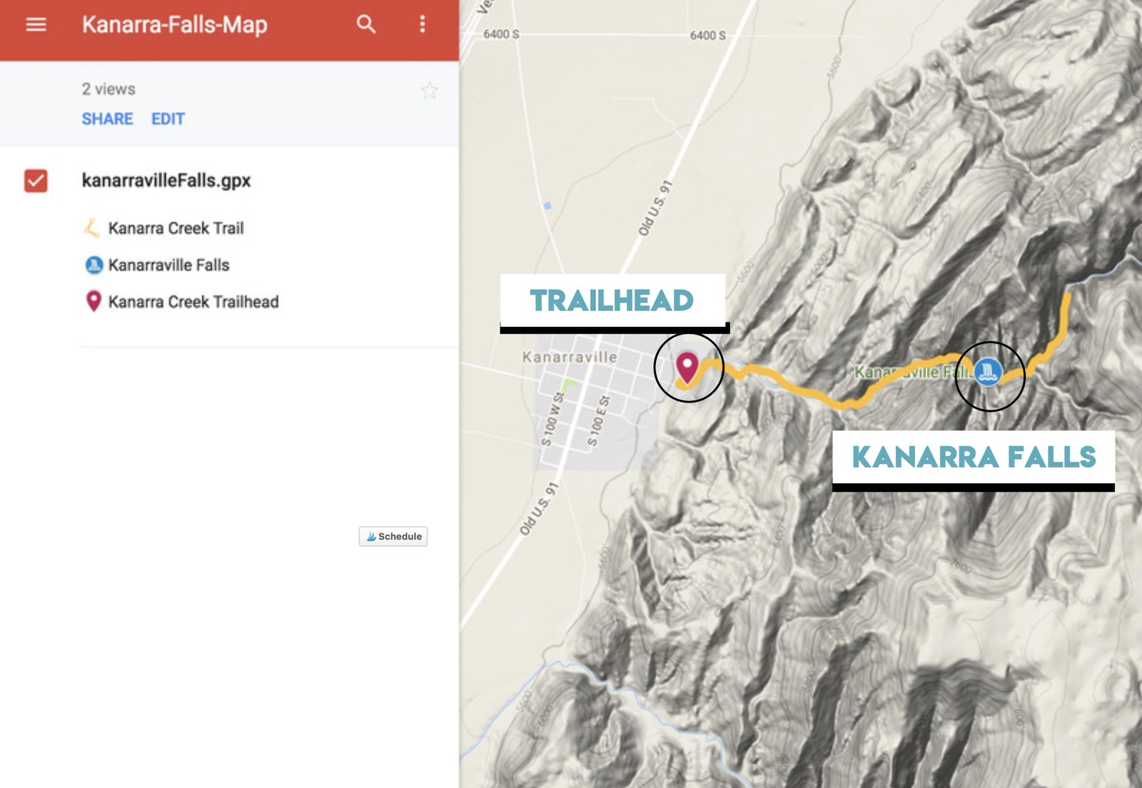 Interactive Map on Google of Kanarra Creek Trail