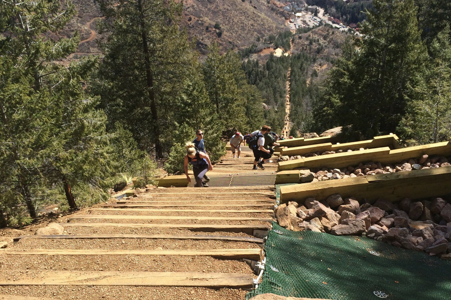 View looking down on the very popular Manitou Incline.