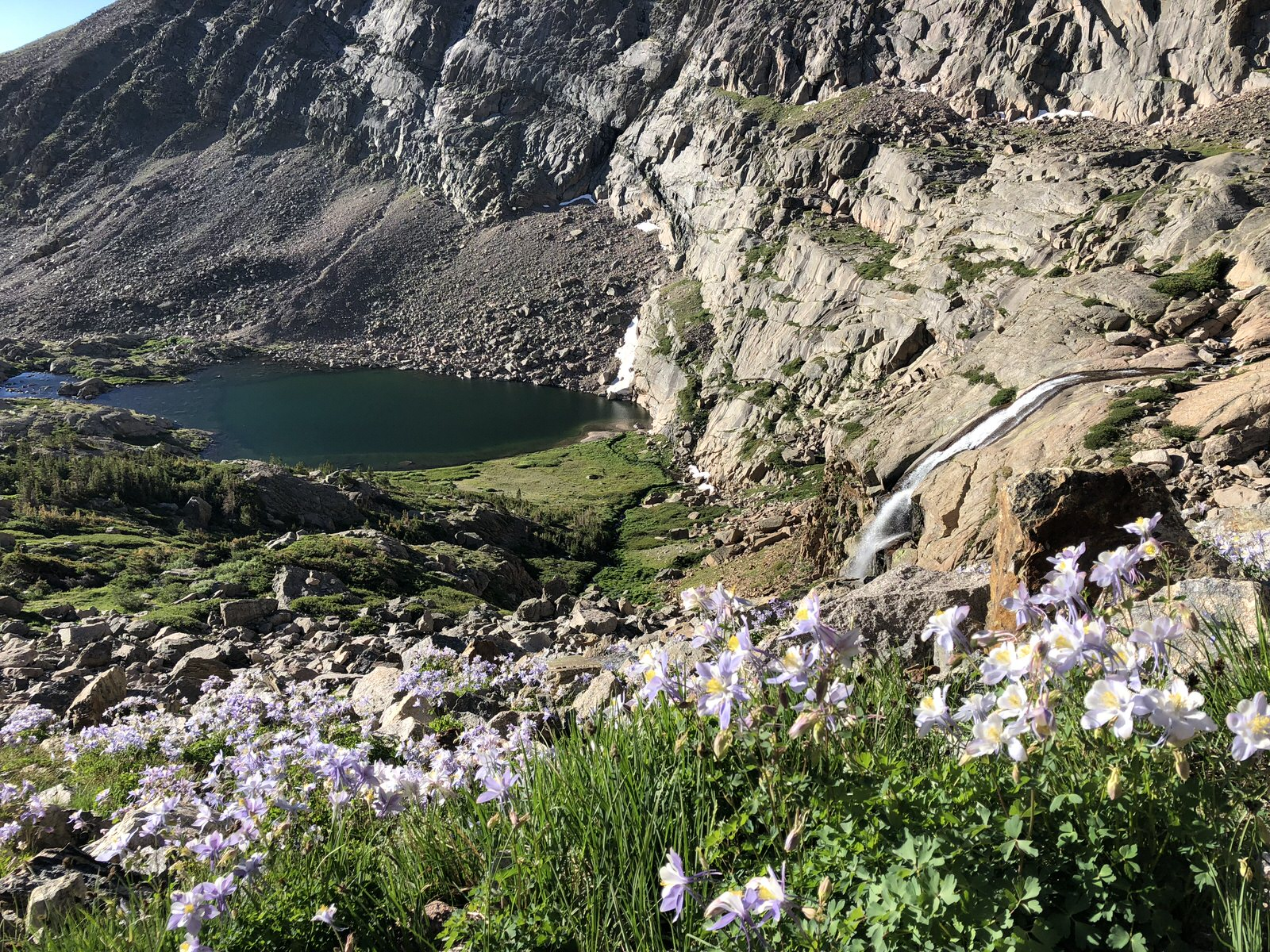 Looking down on Chasm Lake from the Summit of Longs Peak