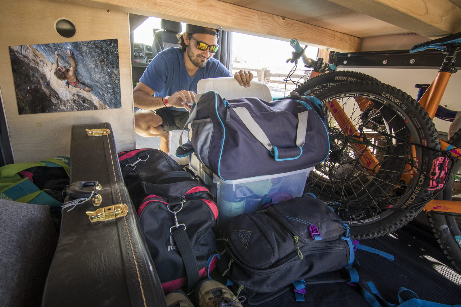 Gear storage under the Wayfarer Van Bed Platform.