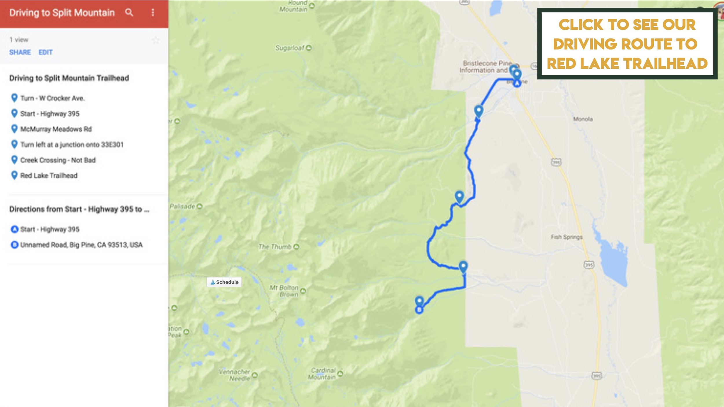 Our driving route to Red Lake Trailhead mapped out on google maps from Big Pine, California.