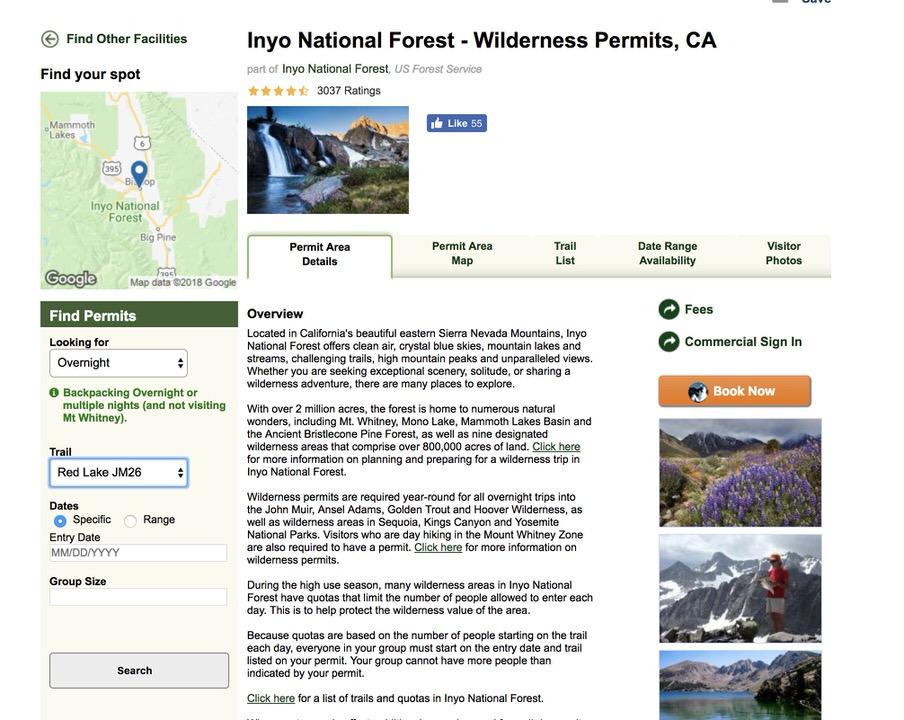 Inyo Nationa Forest Wilderness Permit website.