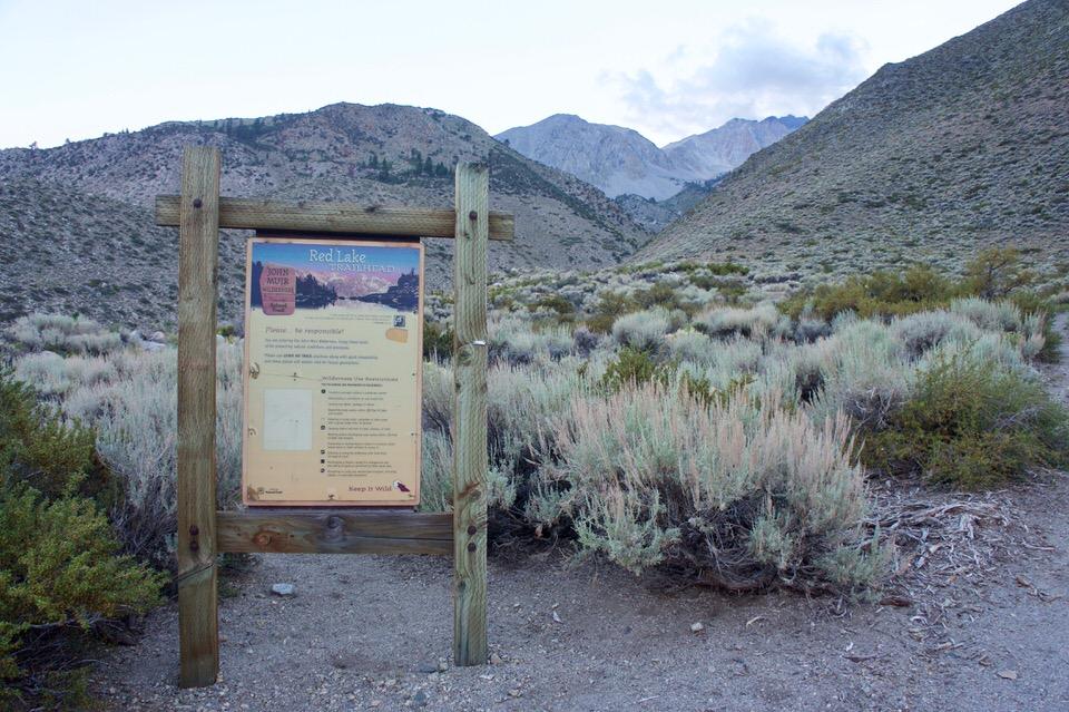 Red Lake trailhead sign.