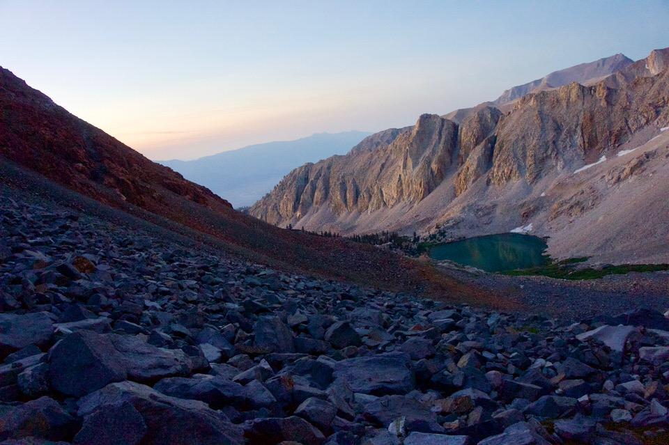 First sunlight on Split Mountain trail.