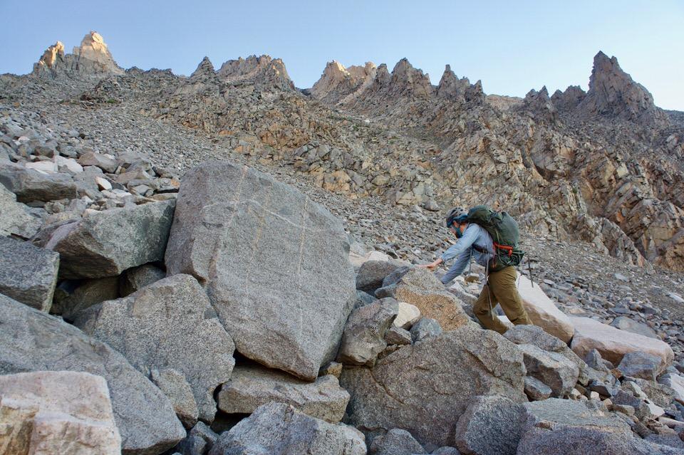 Hiking up the second steep tallus field toward Split Mountain.