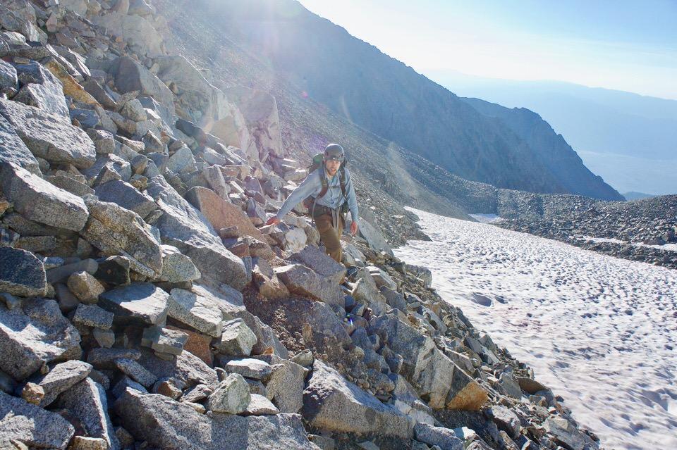 Traversing across tallus field on the way to Split summit.