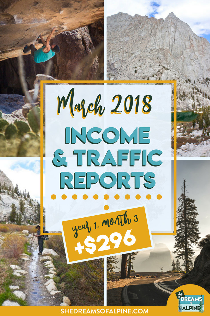 Blog Traffic and Income Report for March 2018  |  A monthly report on the She Dreams of Alpine Blog income and traffic. We are in the beginning stages of monetizing our blog to try and help us pay off our student loans. This post will detail what kind of work we put into the blog and the steps we are taking to bring in more traffic and income.| shedreamsofalpine.com