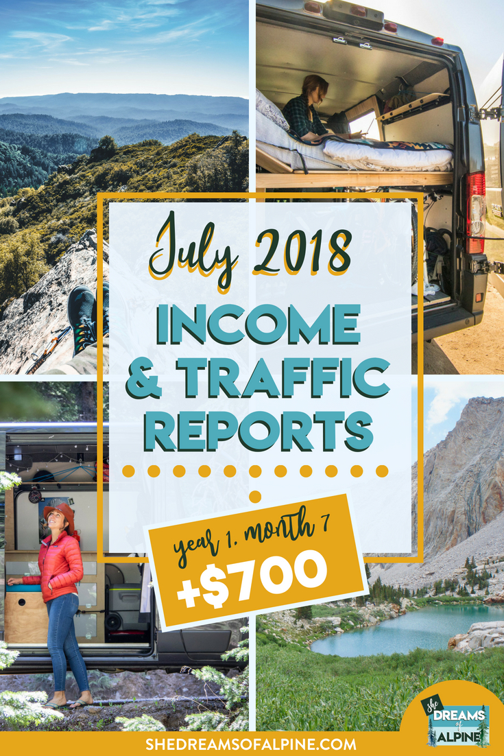 Blog Traffic and Income Report for July 2018  |  A monthly report on the She Dreams of Alpine Blog income and traffic. We are in the beginning stages of monetizing our blog to try and help us pay off our student loans. This post will detail what kind of work we put into the blog and the steps we are taking to bring in more traffic and income.| shedreamsofalpine.com