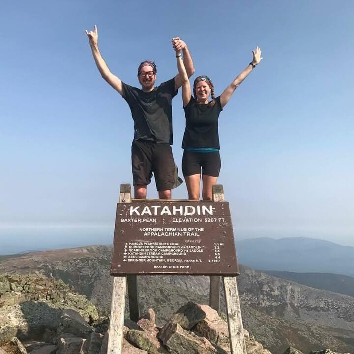 Hikers on the summit of Katahdin.