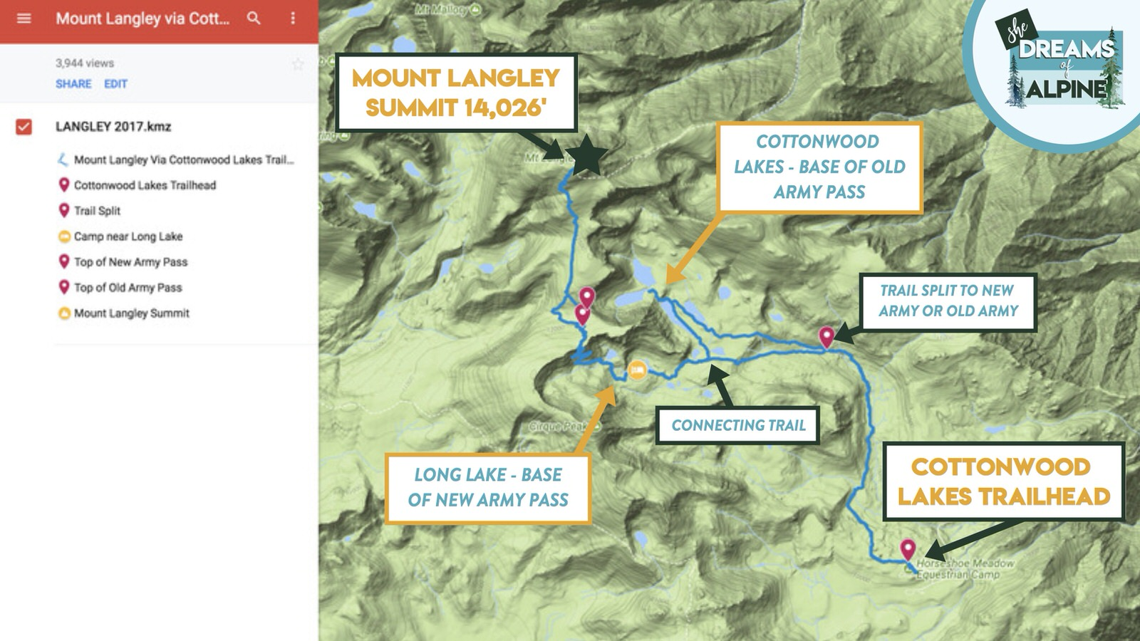 Details on the Cottonwood Lakes Trail map up to the summit of Mount Langley.