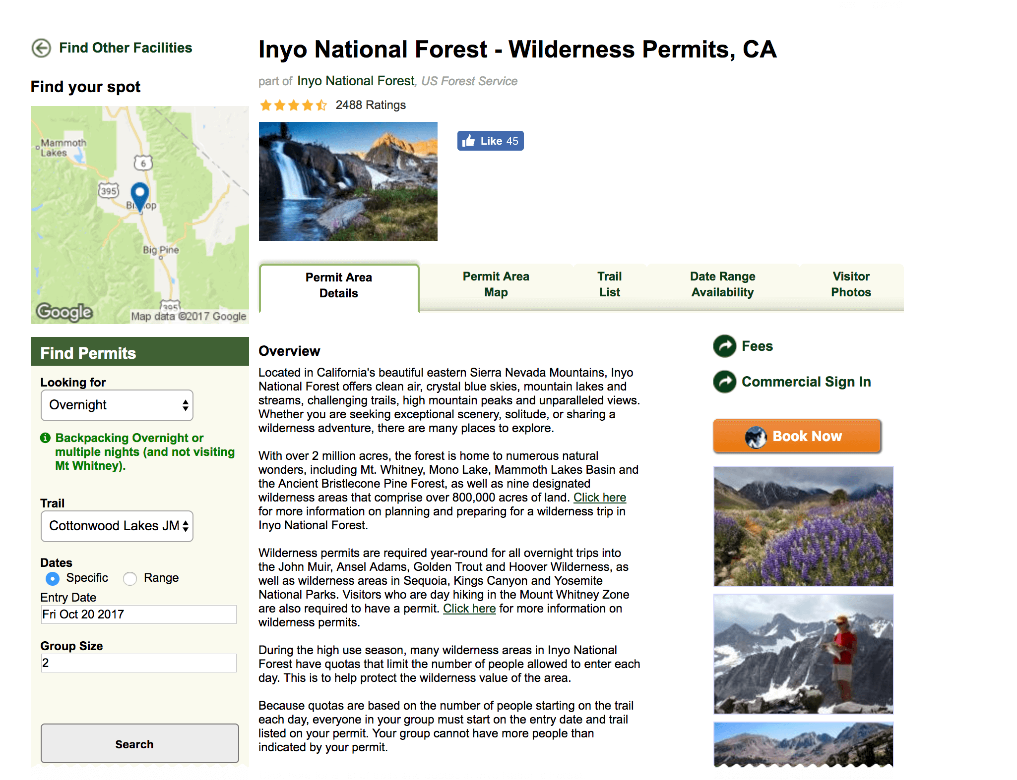 Where to get a Mount Langley Permit