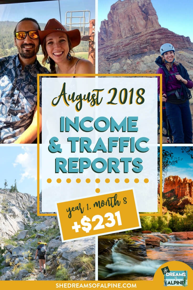Blog Traffic and Income Report for August 2018  |  A monthly report on the She Dreams of Alpine Blog income and traffic. In this post we detail what kind of work we put into the blog and the steps we are taking to bring in more traffic and income as an outdoor blog.| shedreamsofalpine.com