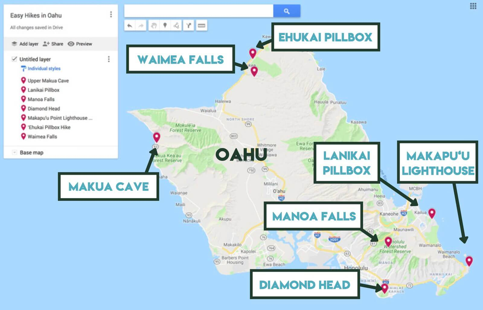 picture relating to Oahu Map Printable named 7 Attractive Very simple Hikes within just Oahu, Hawaii She Wishes Of Alpine