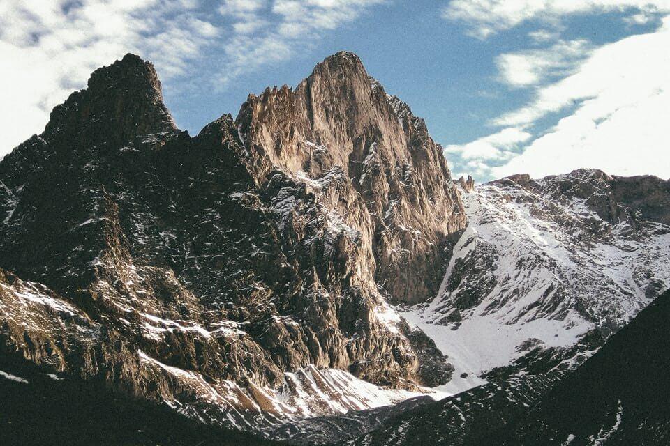 Big rugged, beautiful snowy mountains.